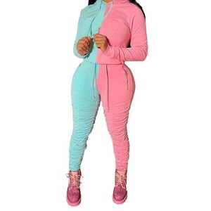 Stacked pants track suit.